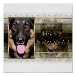 New Year - Golden Elegance - German Shepherd Kuno Poster