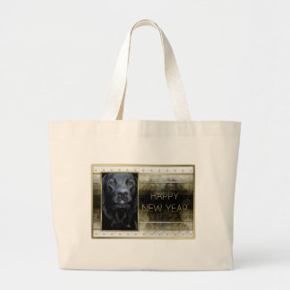 New Year - Golden Elegance - Labrador - Black Gage Canvas Bags