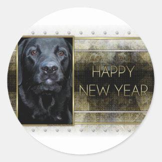 New Year - Golden Elegance - Labrador - Black Gage Classic Round Sticker