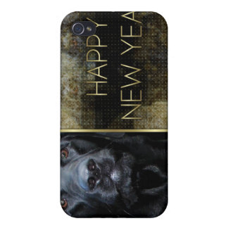 New Year - Golden Elegance - Labrador - Black Gage iPhone 4 Cases