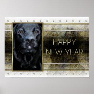 New Year - Golden Elegance - Labrador - Black Gage Print