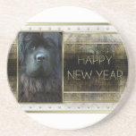 New Year - Golden Elegance - Newfoundland Beverage Coasters