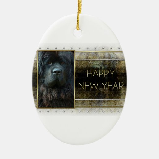 New Year - Golden Elegance - Newfoundland Double-Sided Oval Ceramic Christmas Ornament