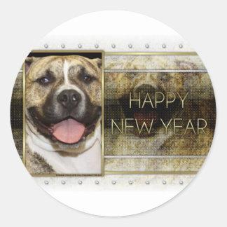 New Year - Golden Elegance - Pitbull Tigger Classic Round Sticker