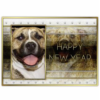 New Year - Golden Elegance - Pitbull Tigger Photo Sculpture Ornament