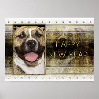 New Year - Golden Elegance - Pitbull Tigger Poster
