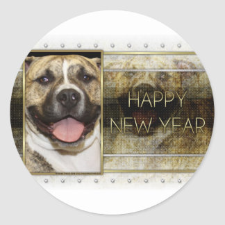 New Year - Golden Elegance - Pitbull Tigger Round Stickers
