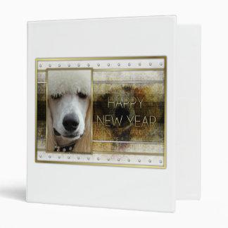 New Year - Golden Elegance - Poodle Apricot 3 Ring Binder