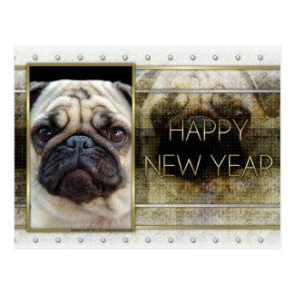 New Year - Golden Elegance - Pug Postcard