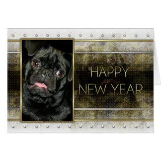New Year - Golden Elegance - Pug Ruffy Greeting Card