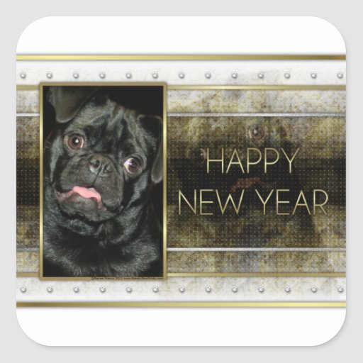 New Year - Golden Elegance - Pug Ruffy Square Stickers