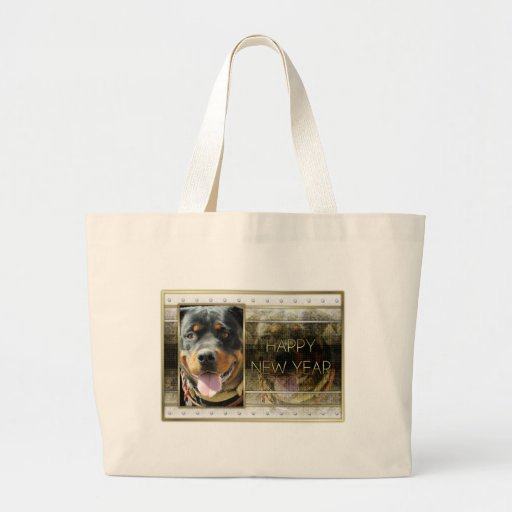 New Year - Golden Elegance - Rottweiler SambaParTi Jumbo Tote Bag