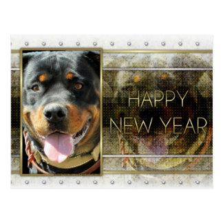 New Year - Golden Elegance - Rottweiler SambaParTi Post Card