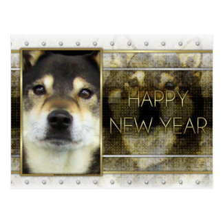 New Year - Golden Elegance -  Shiba Inu - Yasha Postcard