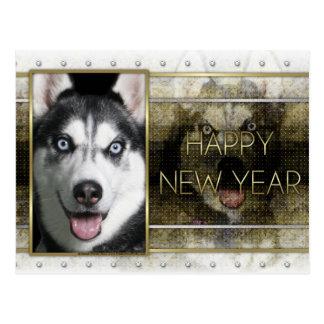 New Year - Golden Elegance - Siberian Husky Postcard