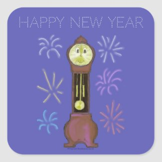 New Year Grandfather Clock with Fireworks sticker