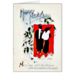 New year greetign with two couples greeting card
