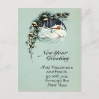 New Year Greeting 1915 Vintage Holiday Postcard