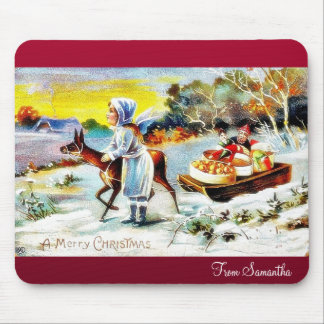 New Year greeting with a village and a flower garl Mouse Pad