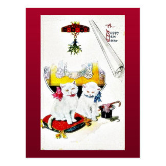 New year greeting with two cats sitting postcard