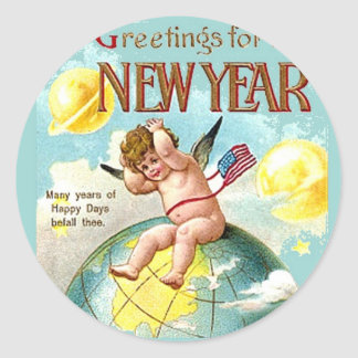 New Year Greetings Cherub Globe Vintage Postcard Classic Round Sticker