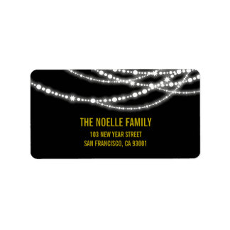 New Year Lights Sparkles Holiday Address Labels