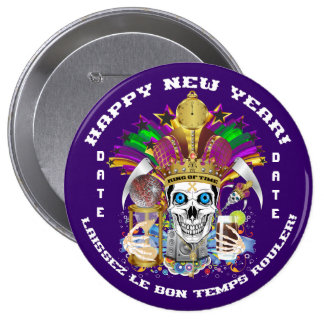 New Year Mardi Gras Customize View Notes Please Pinback Button