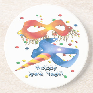 New Year masks 3x3 Coaster