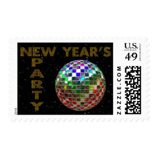 New Year Mirror Ball Dance Party Postage