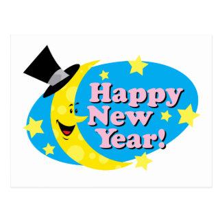 New Year Moon & Stars Postcard