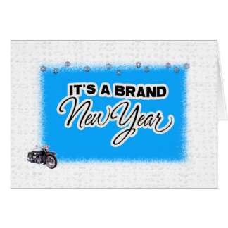 new year motercycle card