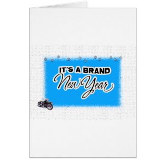 new year motercycle greeting card