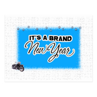 new year motercycle post card