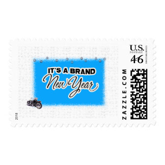 new year motercycle stamp