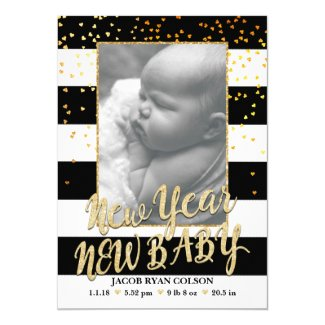 New Year New Baby Baby Birth Announcement