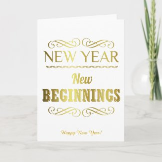 New Year New Beginnings Gold Card