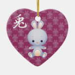 New Year of the Rabbit Ornament Ceramic Heart Ornament
