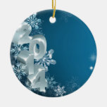 New Year or Christmas 2014 Snowflakes Background Double-Sided Ceramic Round Christmas Ornament