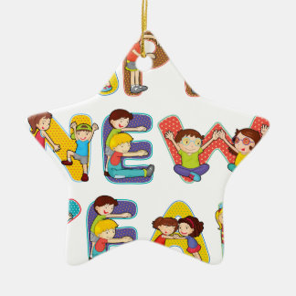 New Year Double-Sided Star Ceramic Christmas Ornament