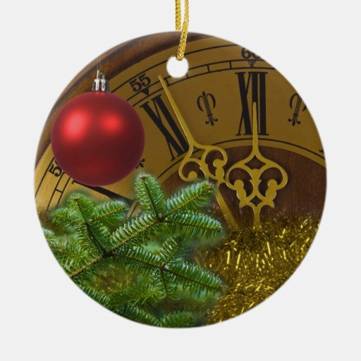 New Year Double-Sided Ceramic Round Christmas Ornament