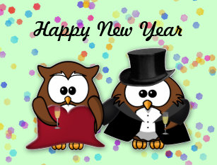 new year owl holiday postcard