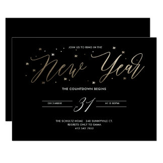 New Year Party Gold Foil Party Invitation Black