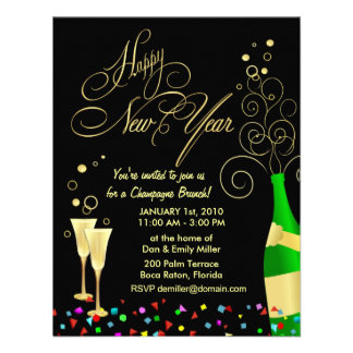 New Year Party Invitations - Champagne Brunch