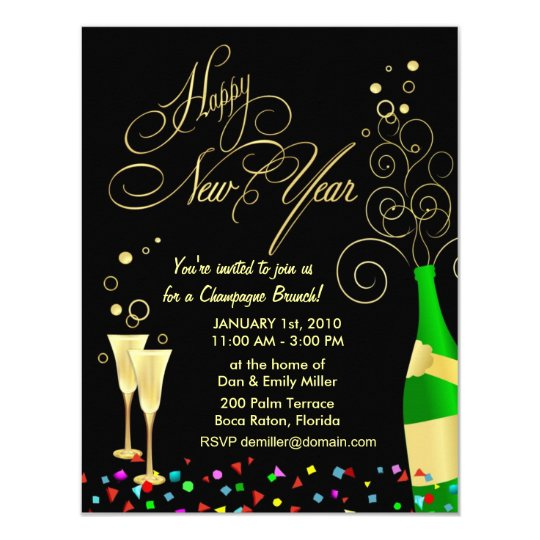 New year party invitations champagne brunch zazzle for Terrace new year party