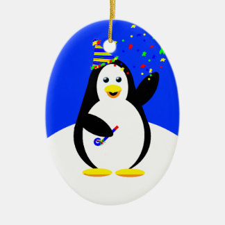 New Year Party Penguin: 2011 Ceramic Ornament