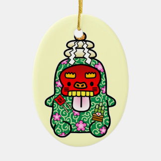 New Year PeRoPuuu 2 Double-Sided Oval Ceramic Christmas Ornament