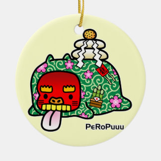 New Year PeRoPuuu Double-Sided Ceramic Round Christmas Ornament