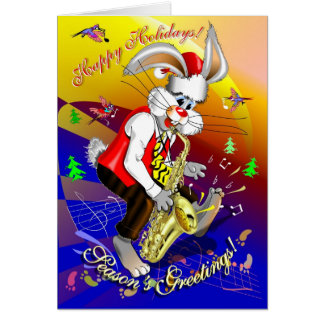 New Year- Rabbit, Rabbit on Saxophone, Chinese new Card