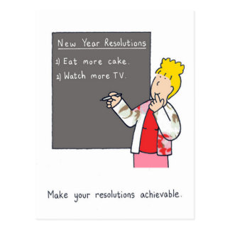 New Year Resolutions Humor Postcard