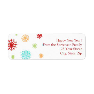 New Year Return Address Labels Colorful Snow